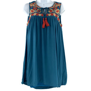 Entro Boho Embroidery Hi-Lo Tank Top Teal - S